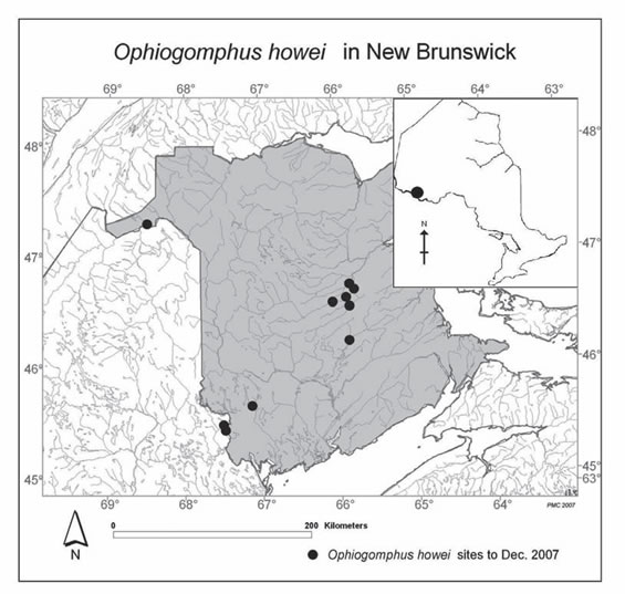 Map shopwing the Canadian distribution of Pygmy Snaketail populations in New Brunswick.