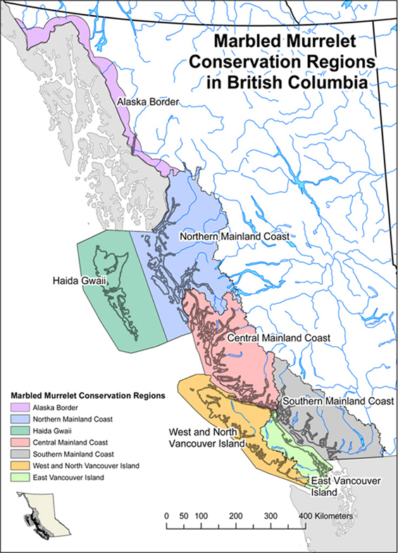 Figure 2 is a map that shows the seven conservation regions within British Columbia that are recognized by the Marbled Murrelet Recovery Team in B.C. and are shaded different colours. (See long description below)