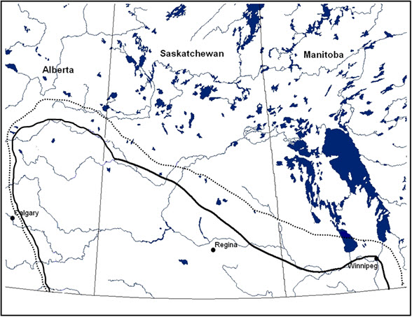Former range and the current range of the Prairie Loggerhead Shrike