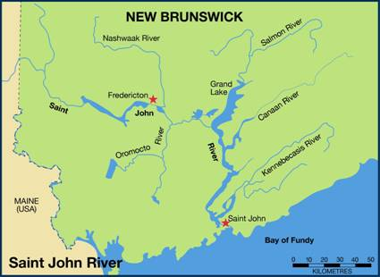 Figure 4. Saint John River system, NB (adapted from COSEWIC 2004, courtesy of D. Davis).