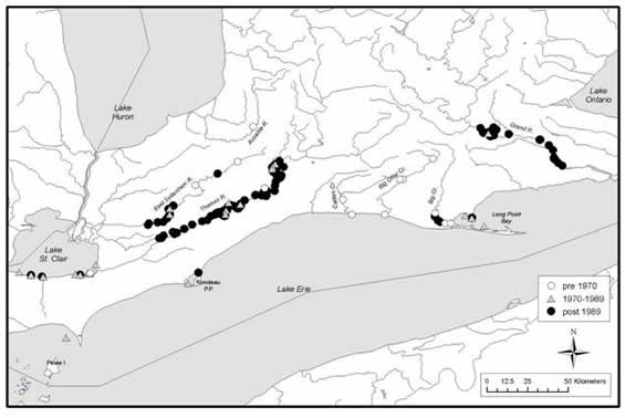 Map of the Ontario range of the Eastern Sand Darter. (See long description below)