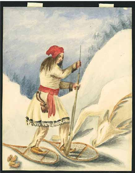 Painting of Grand chief Nicolas Vincent Tsawenhohi hunting while on snow shoes.