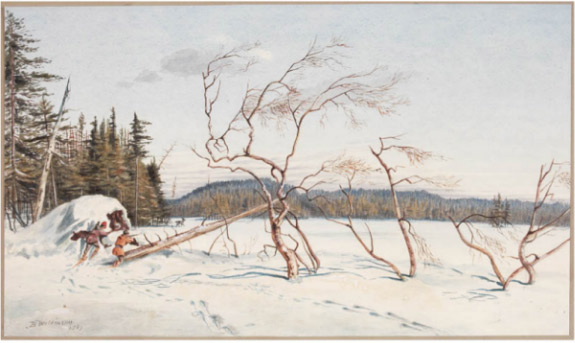 Painting of two men hunting Caribou at Lac au Lisle.