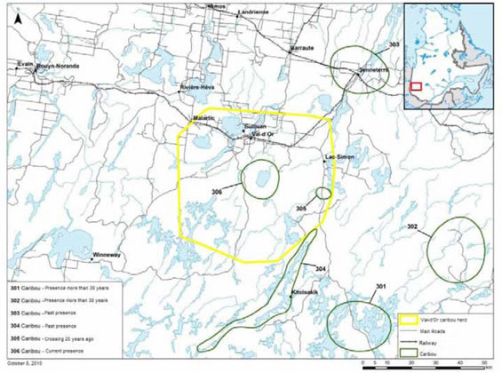 Map identifying areas sensitive to Boreal Caribou by the Kitcisakik Community.