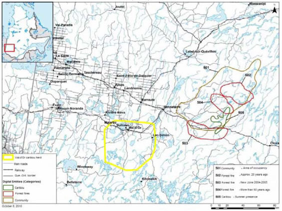 Map identifying areas sensitive to Boreal Caribou at Simon (Jesse) Lake First Nation.