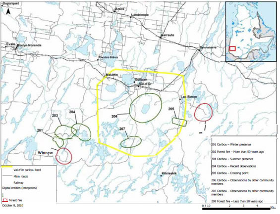 Map identifying areas sensitive to Boreal caribou at Lac-Simon.