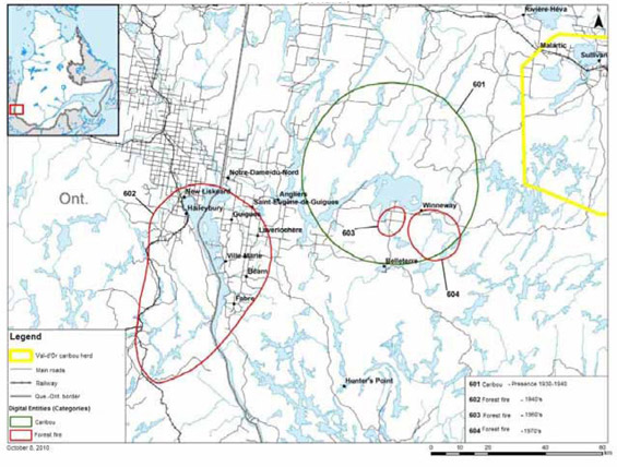 Map identifying areas sensitive to boreal caribou by the Timiskaming First Nation.
