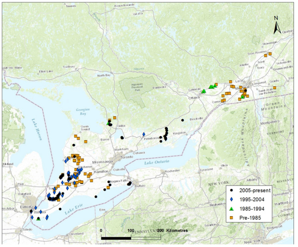 Map showing Distribution of Northern Sunfish in southern Ontario and Québec (Great Lakes-Upper St. Lawrence DU). (see long description below)