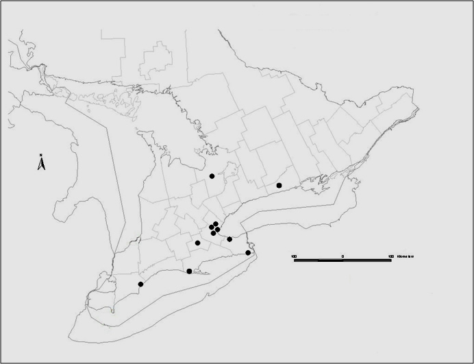 Approximate locations of 12 sites in southern Ontario