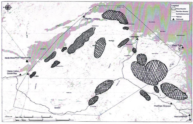 Second of the two maps identifying areas important to boreal caribou during the summer, and Labrador region shown.