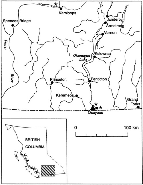 Figure 2 is a map of the distribution and extant occurrences of Toothcup in southern British Columbia. (See long description below)