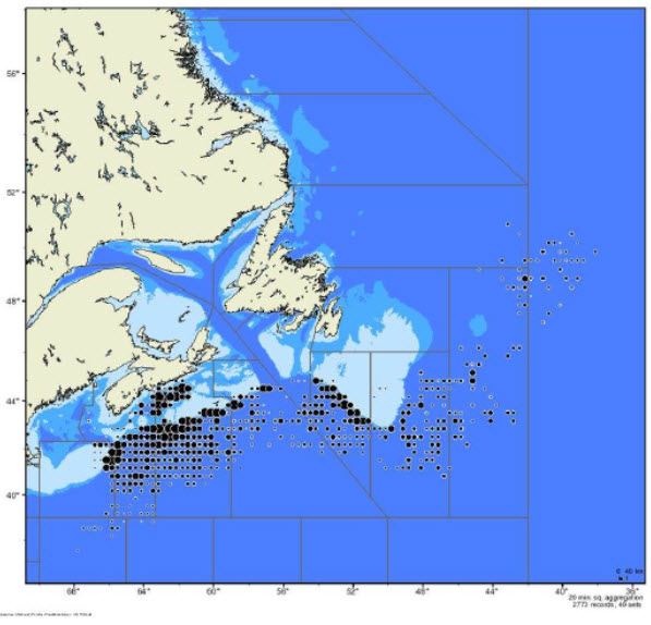 Map showing Blue Shark catch locations (see long description below)