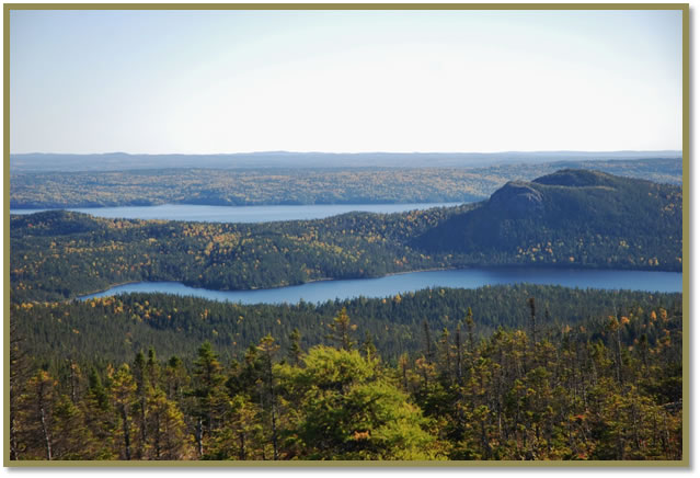 This photograph, taken from the top of Ochre Hill Fire Tower looking south in Terra Nova National Park, shows a body of water known as Bread Cove Pond in the centre. The rocky hill top on the right is Ochre Pitt Hill. In the distance is Clode Sound, which is part of the Atlantic Ocean bordering the southern and eastern portion of the park. The black spruce and mixed wood green forest throughout the photo is interspersed with orange and yellow fall colours, mainly from the turning leaves of white birch trees.