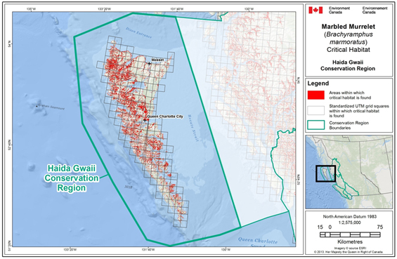 Fig B-1: Map showing scattered locations of critical habitat throughout the Haida Gwaii Conservation Region. (See long description below)