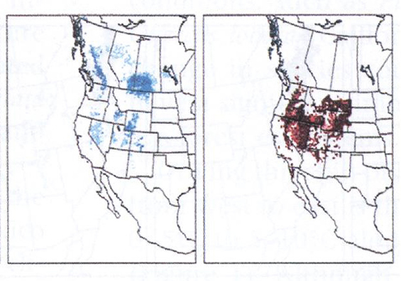 Maps showing the projected distribution of sagebrush at the end of the twenty-first century. One map (left) shows projected presence while the other (right) shows projected absence.