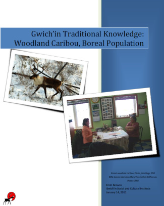 Report cover with images of a caribou roaming the woods and elders discussing at a table