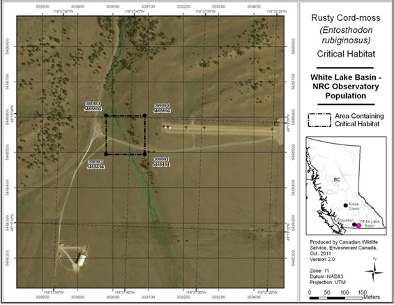 Figure A3 is a map showing the area containing critical habitat for the NRC Observatory population.