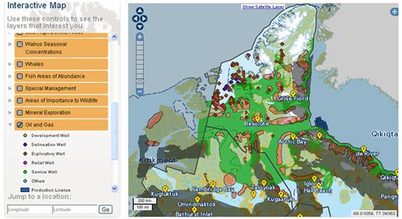 Carte : Activités d'exploration pétrolière et gazière et localisation par rapport à la zone de présence d'ours polaires dans le Nunavut
