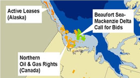Carte : Figure 7 présente la superficie occupée par les sites d'exploration gazière et pétrolière dans la mer de Beaufort (droits d'exploration octroyés jusqu'en 2006) et les appels d'offres pour la mise en place de projets d'exploration pétrolière et gazière.